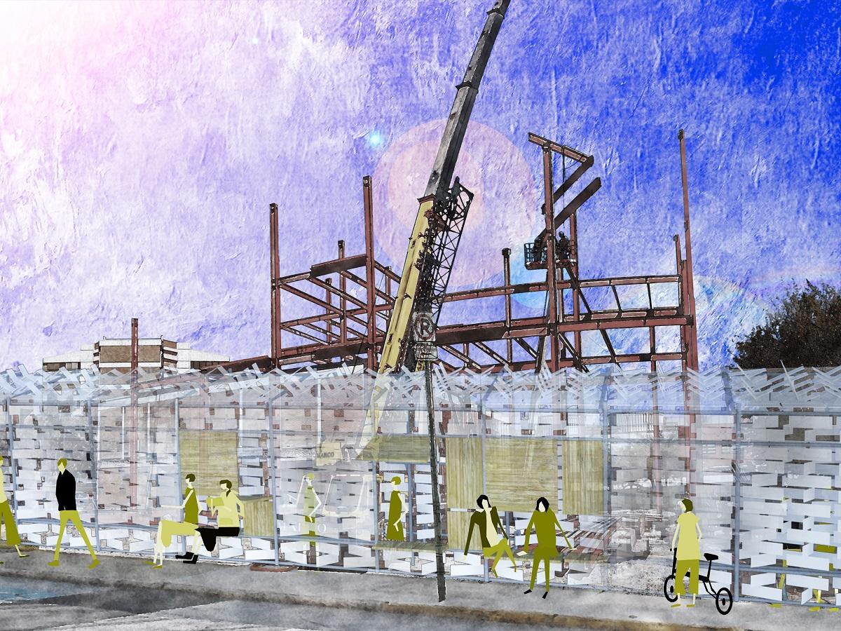 揺らぐ仮囲い=発電する境界の東屋