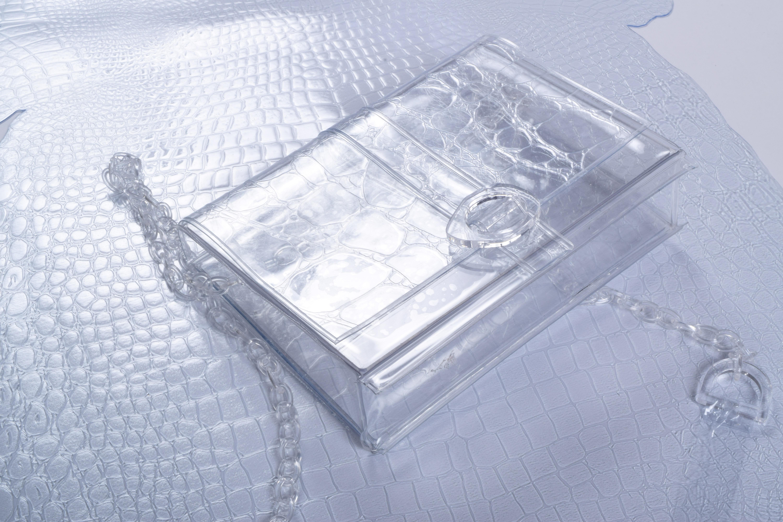 透明なワニ革のバッグ