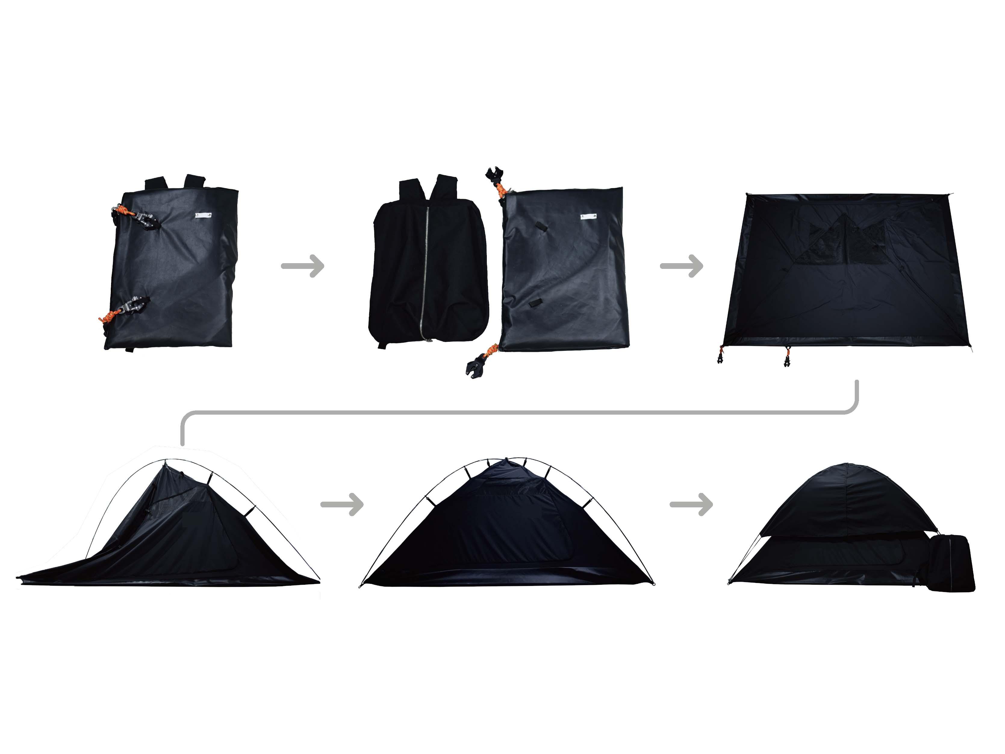 バックパック型変形テント